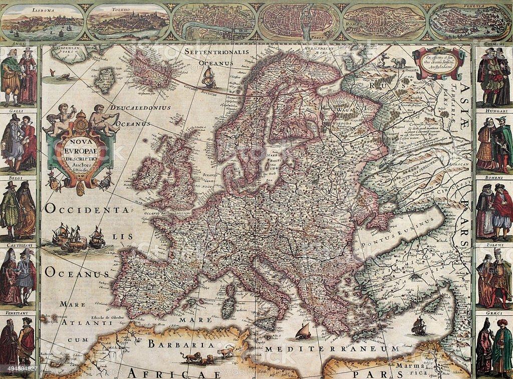 Europa old map vector art illustration