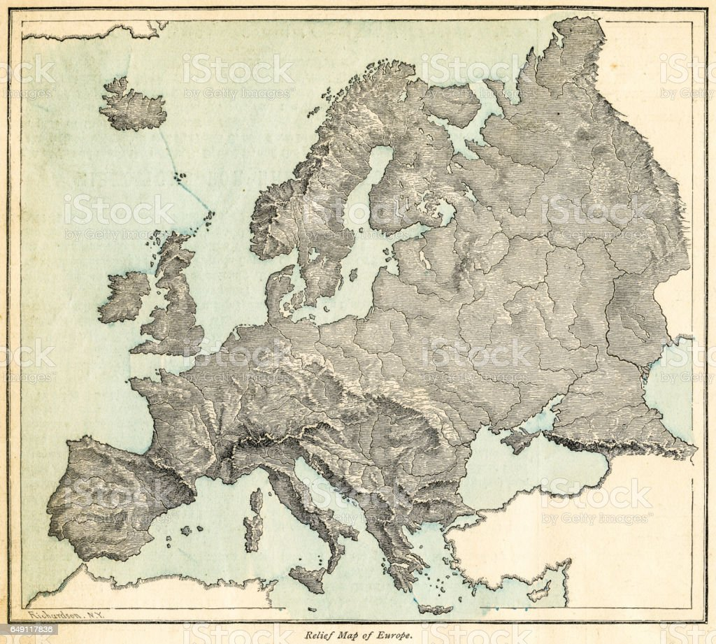 Europe relief map 1875 vector art illustration