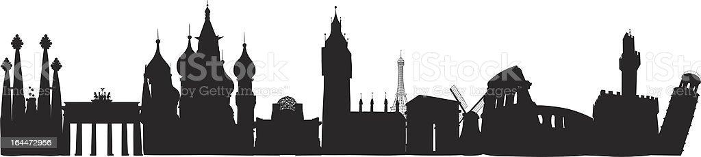 Europe Skyline vector art illustration