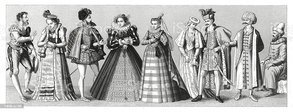 European costumes from XVI century (antique wood engraving) vector art illustration