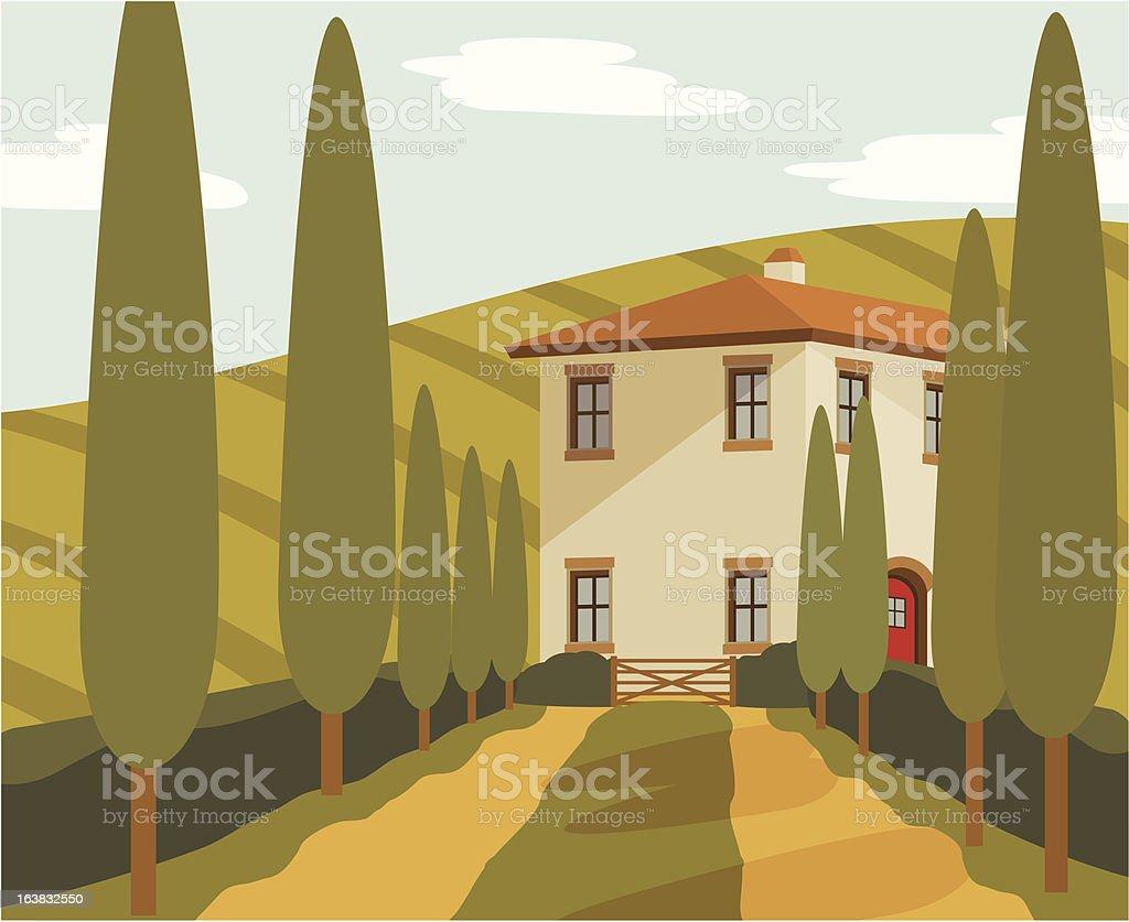 European Countryside VIlla royalty-free stock vector art