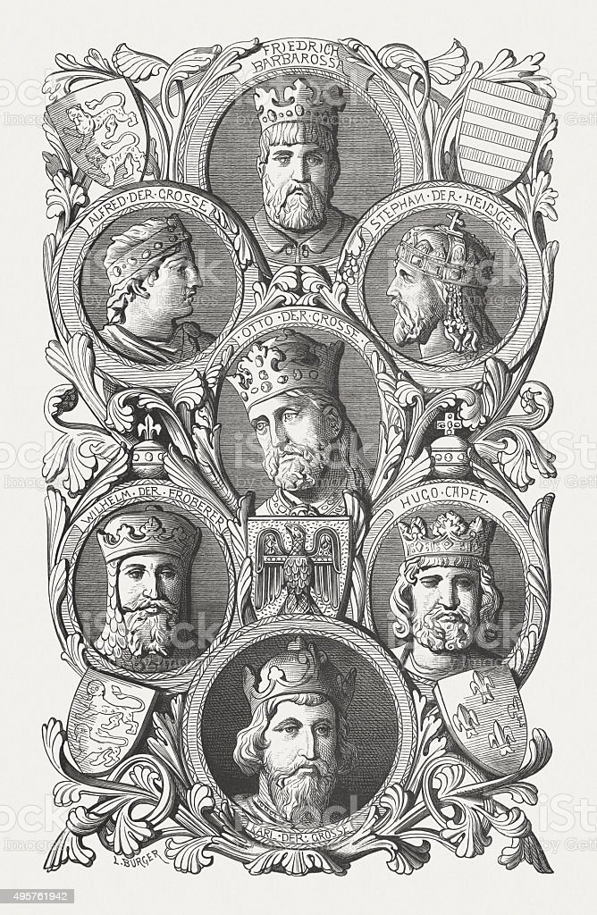 European emperors and kings, published in 1881 vector art illustration