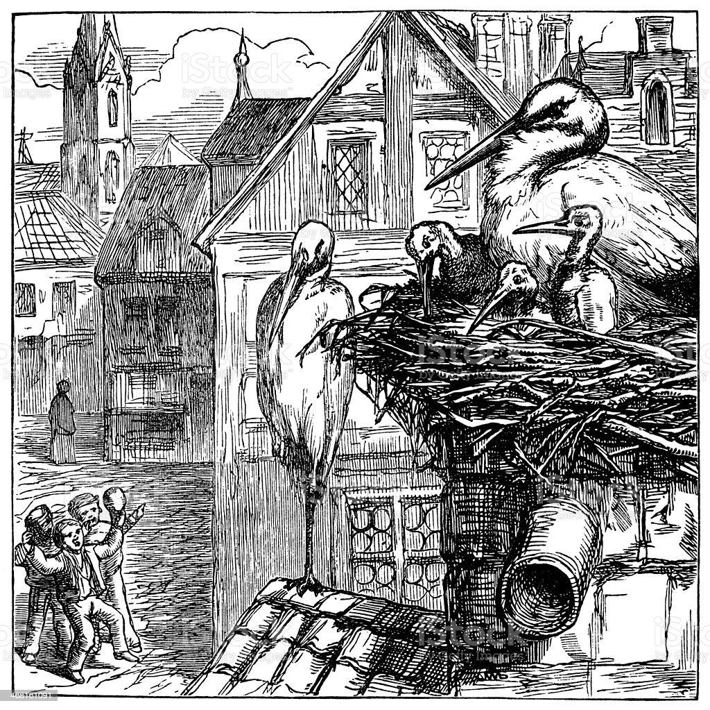 European storks' nest with chicks vector art illustration