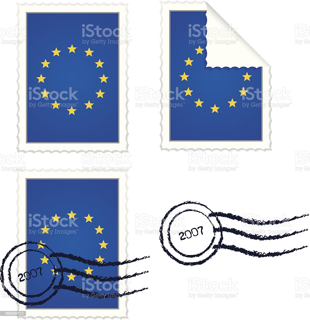 European Union Flag Stamp Set royalty-free stock vector art