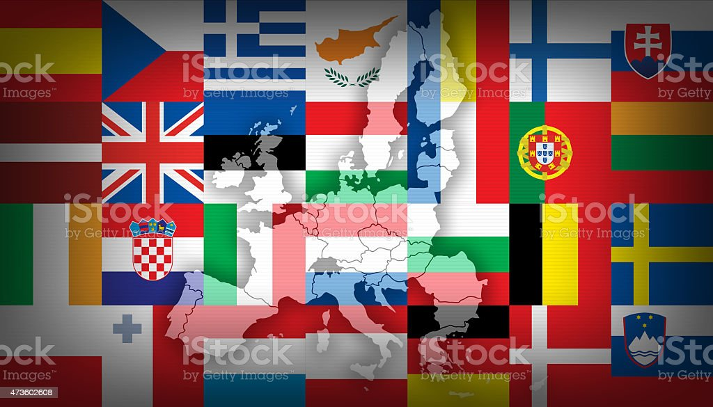 european union flags and map vector art illustration