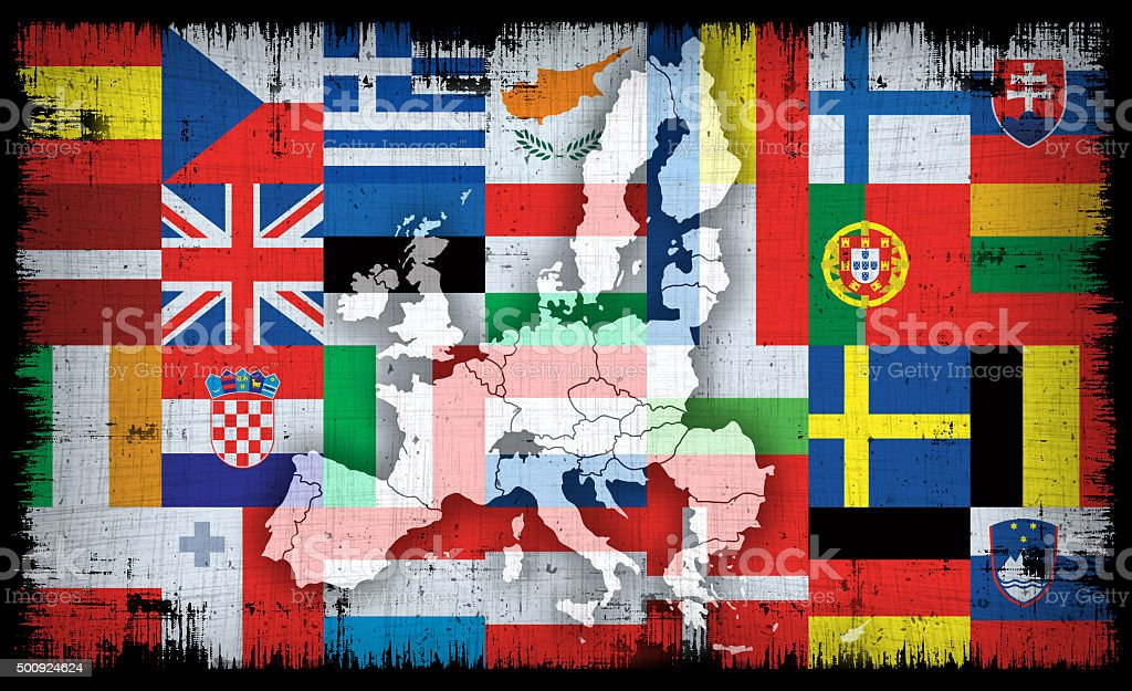 european union flags and maps vector art illustration