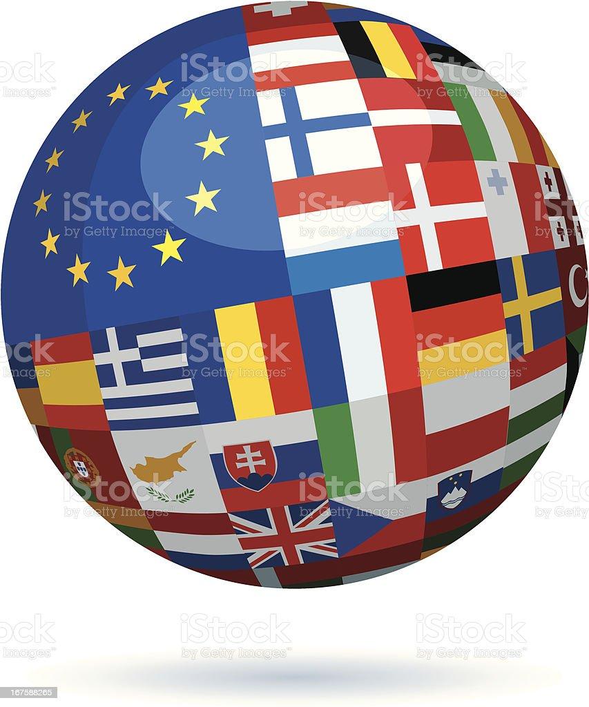 european union flags sphere royalty-free stock vector art