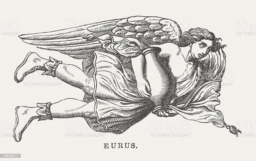 Eurus, Greek god of wind and autumn, published in 1878 vector art illustration