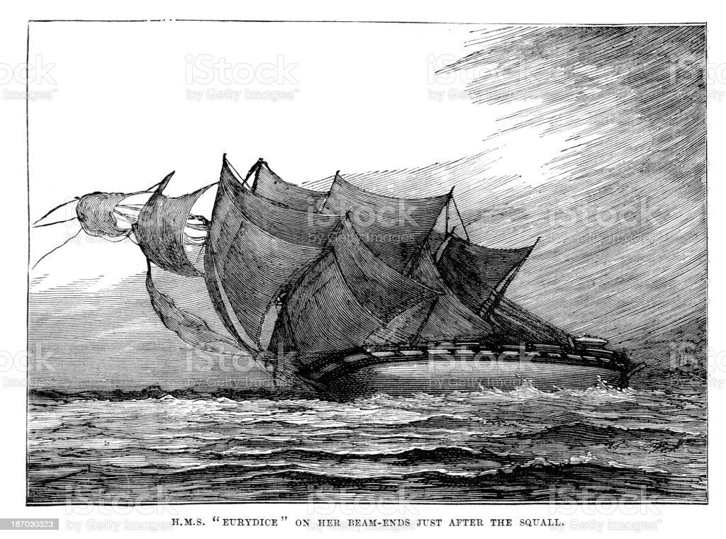 HMS Eurydice vector art illustration