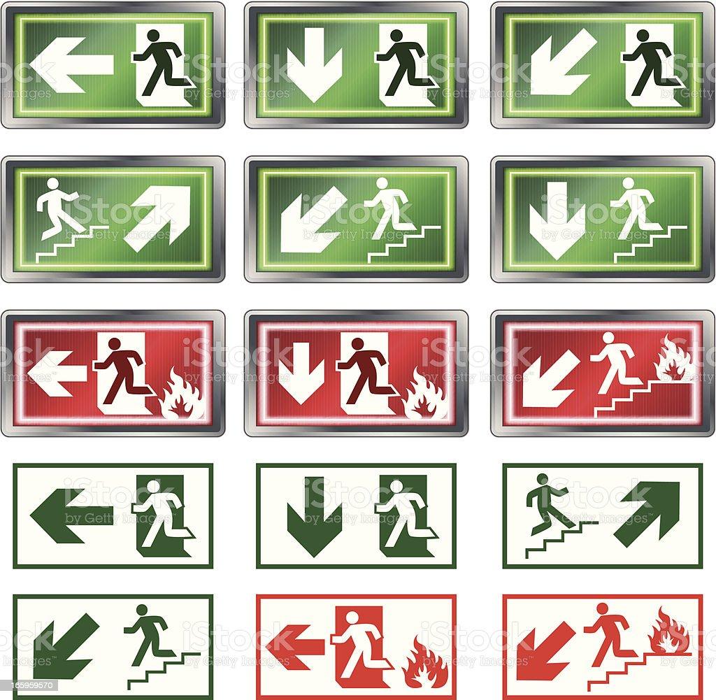 Evacuation signs royalty-free stock vector art