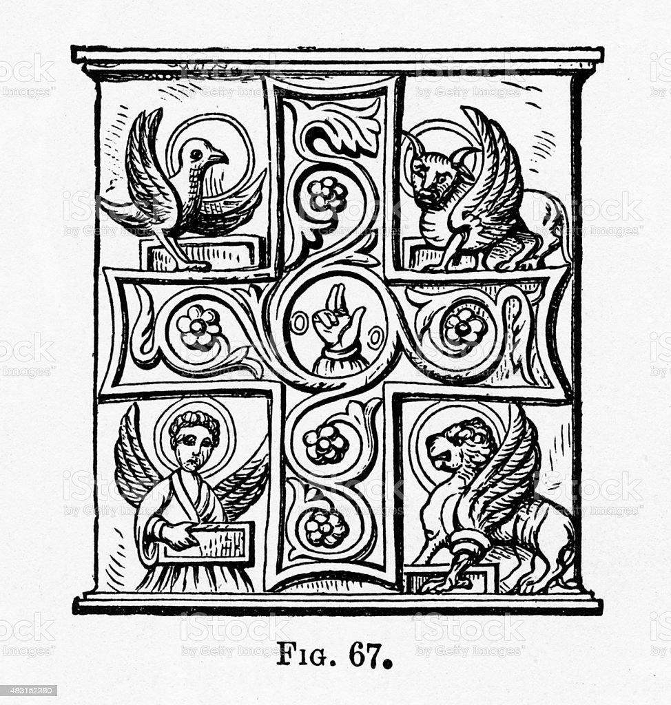 Evangelists Christian Symbolism Engraving vector art illustration
