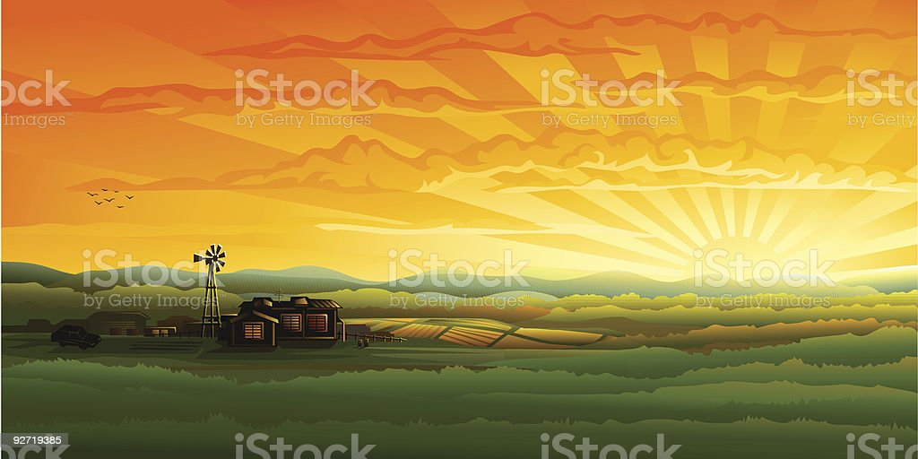 Evening countryside panorama - farm, field and wind turbine vector art illustration