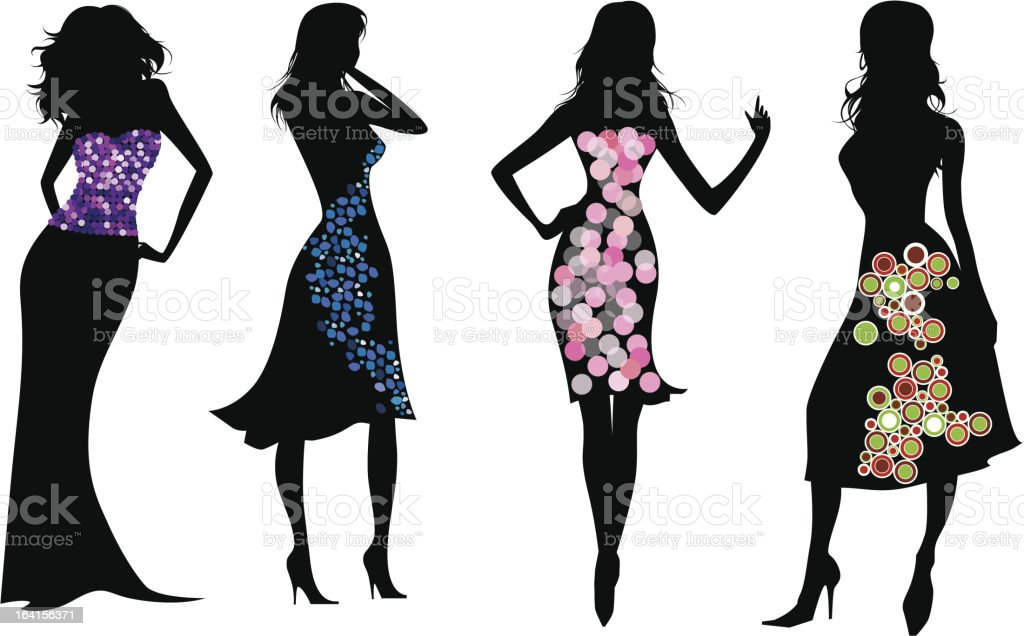 Evening gowns silhouettes royalty-free stock vector art