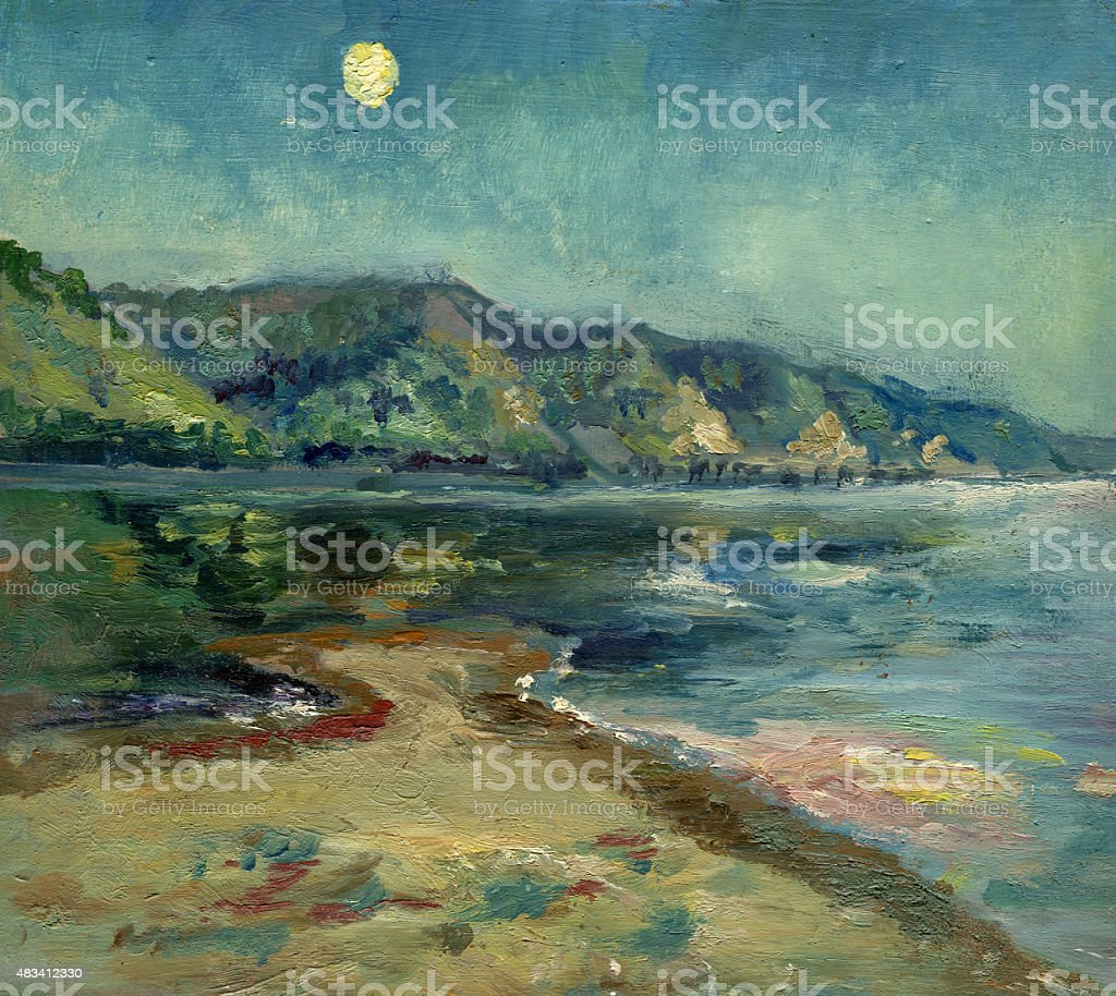 evening landscape with the moon painting vector art illustration