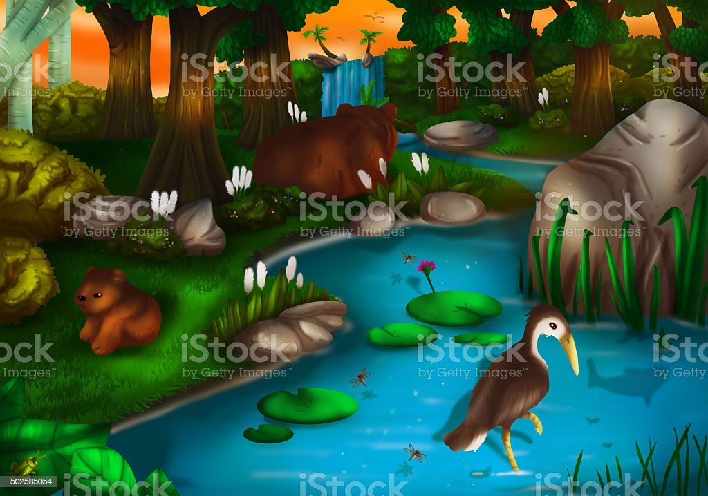 Evening time in Deep Green Forest vector art illustration