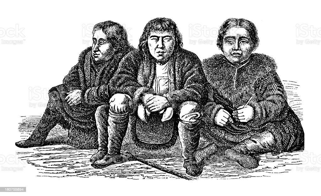 Evenks people, Siberia (antique wood engraving) royalty-free stock vector art