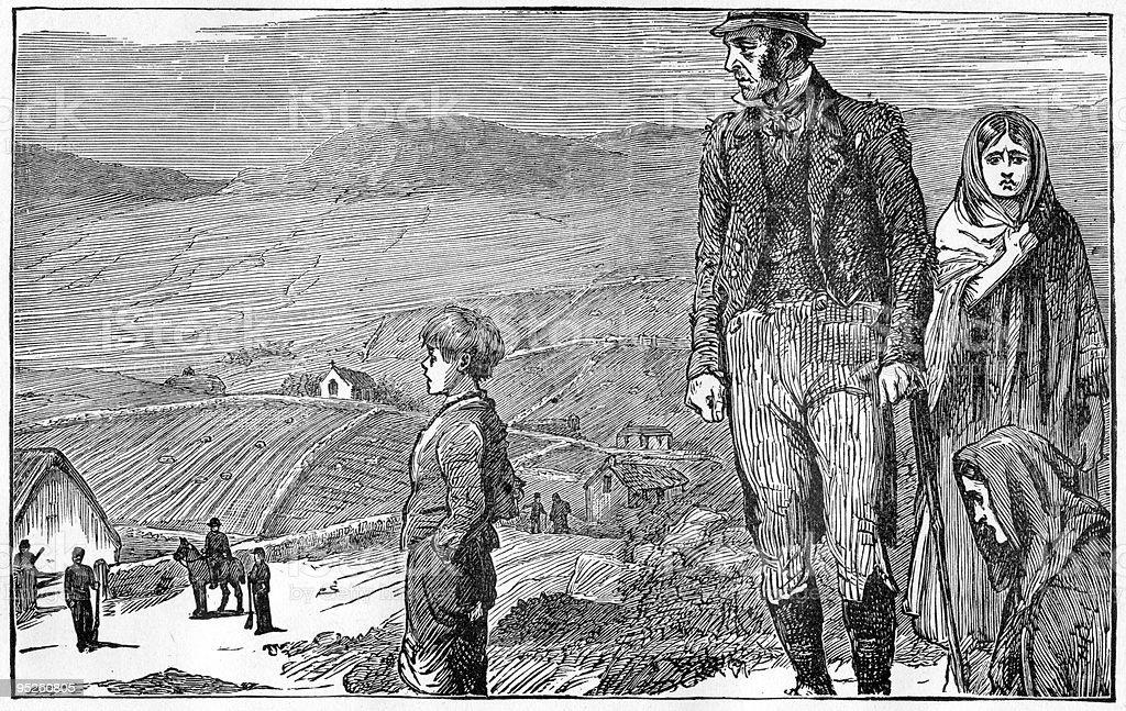 Evicted, circa 1886 vector art illustration