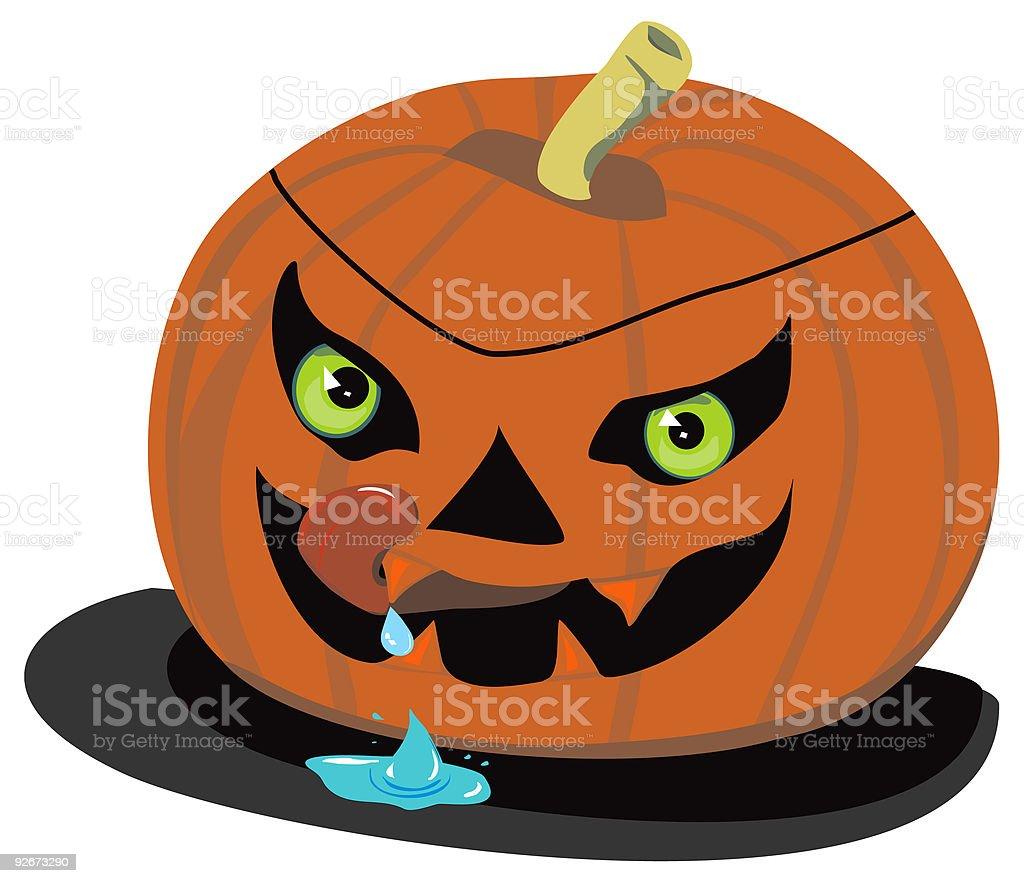 Evil Halloween Pumpkin, drooling royalty-free stock vector art
