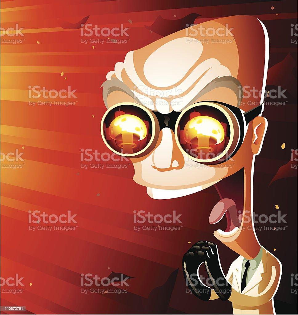 Evil Nuclear Doomsday Scientist vector art illustration