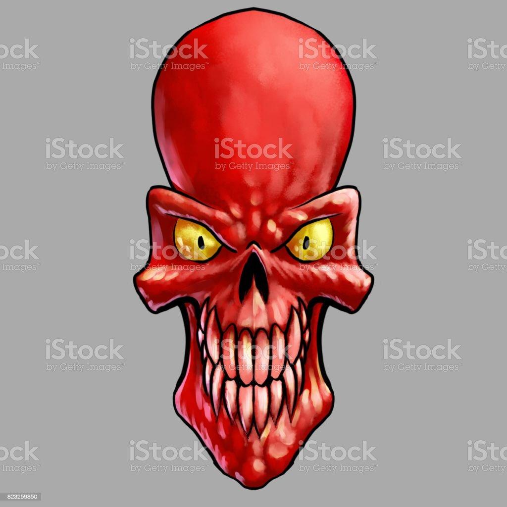 Evil Red Comic Book Style Skull vector art illustration