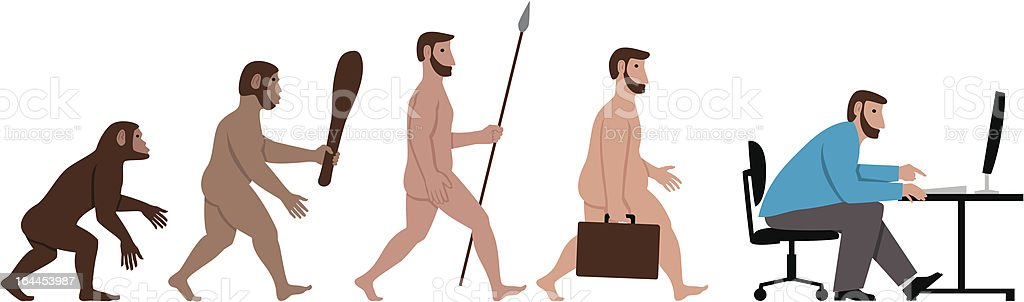 Evolution in the workplace vector art illustration