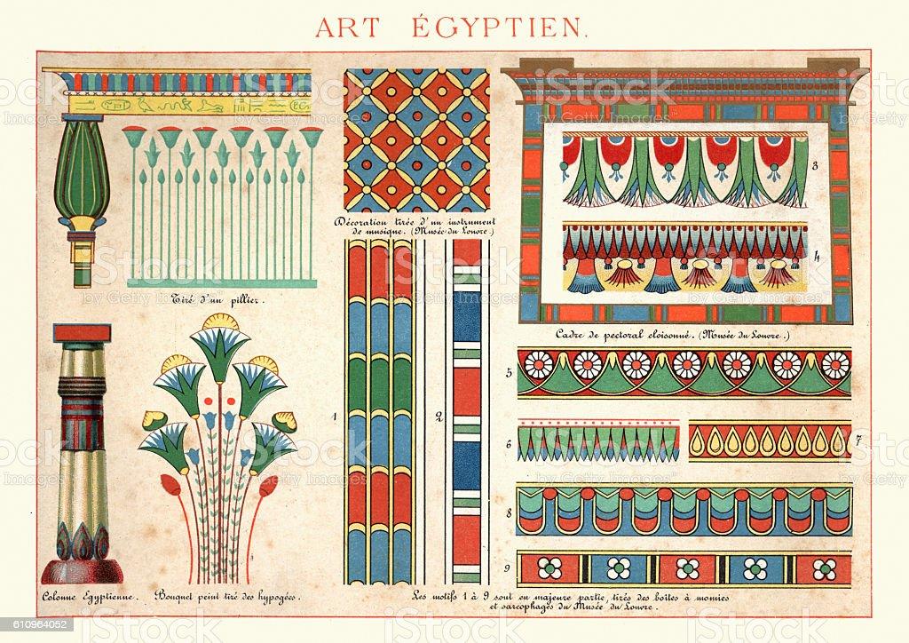 Examples of Ancient Egytian Art Ornamentation vector art illustration