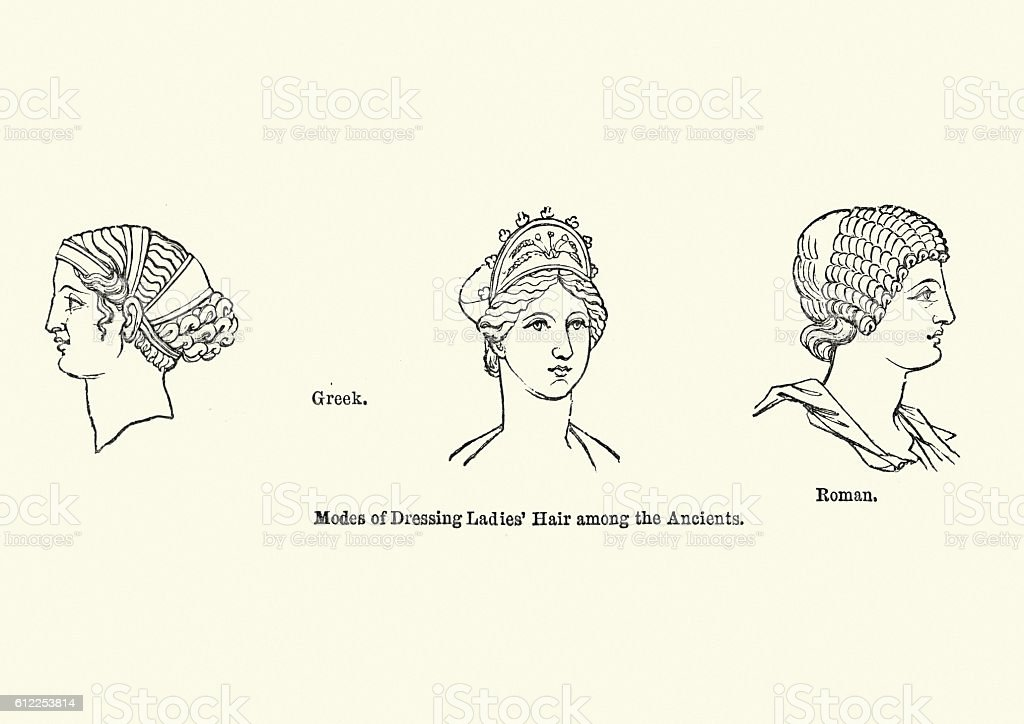 Examples of ancient hair styles vector art illustration