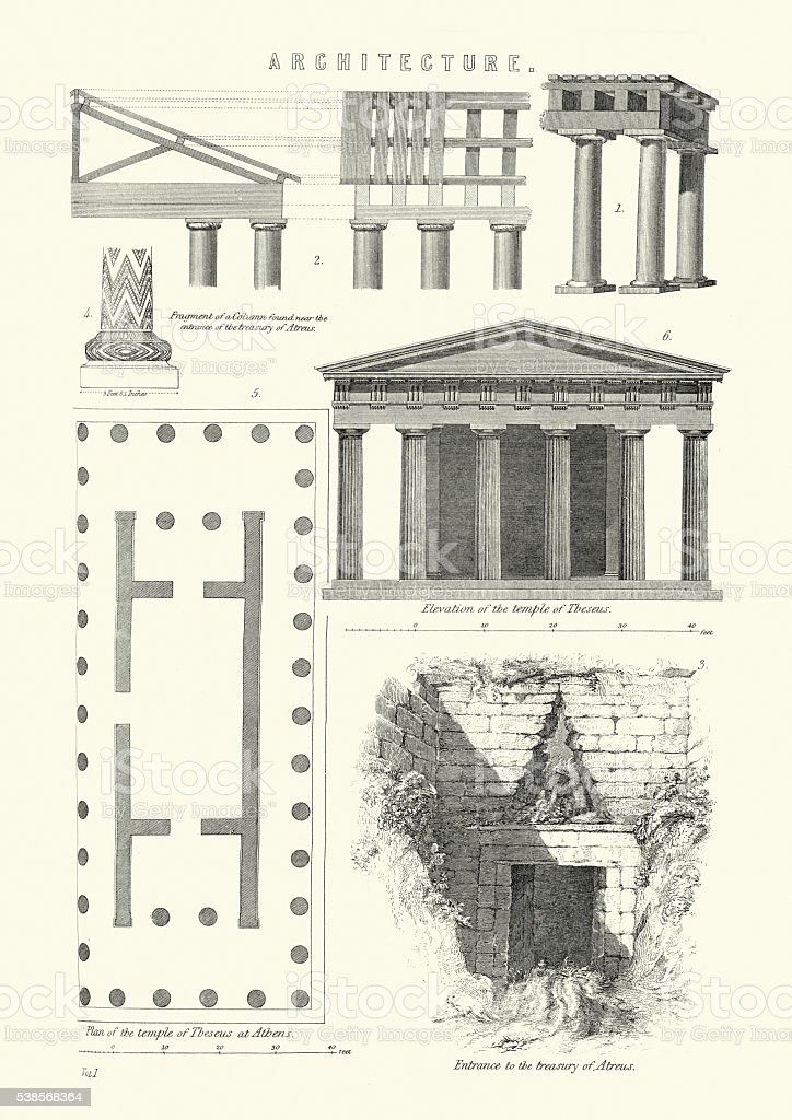 Examples of classical architecture vector art illustration