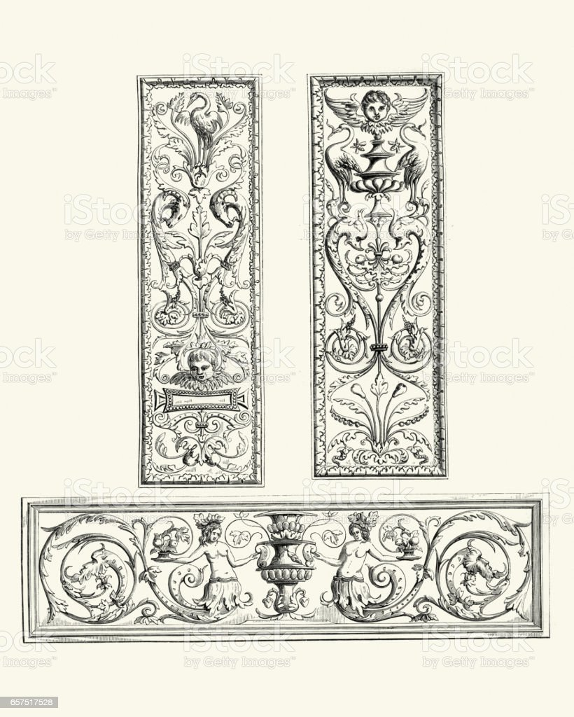 Examples of Flemish renaissance oak panels 16th Century vector art illustration