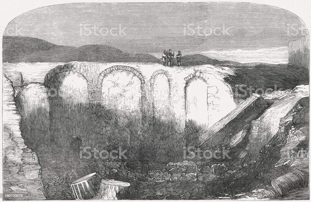 Excavations in Alexandria for the famous library of the Antique royalty-free stock vector art