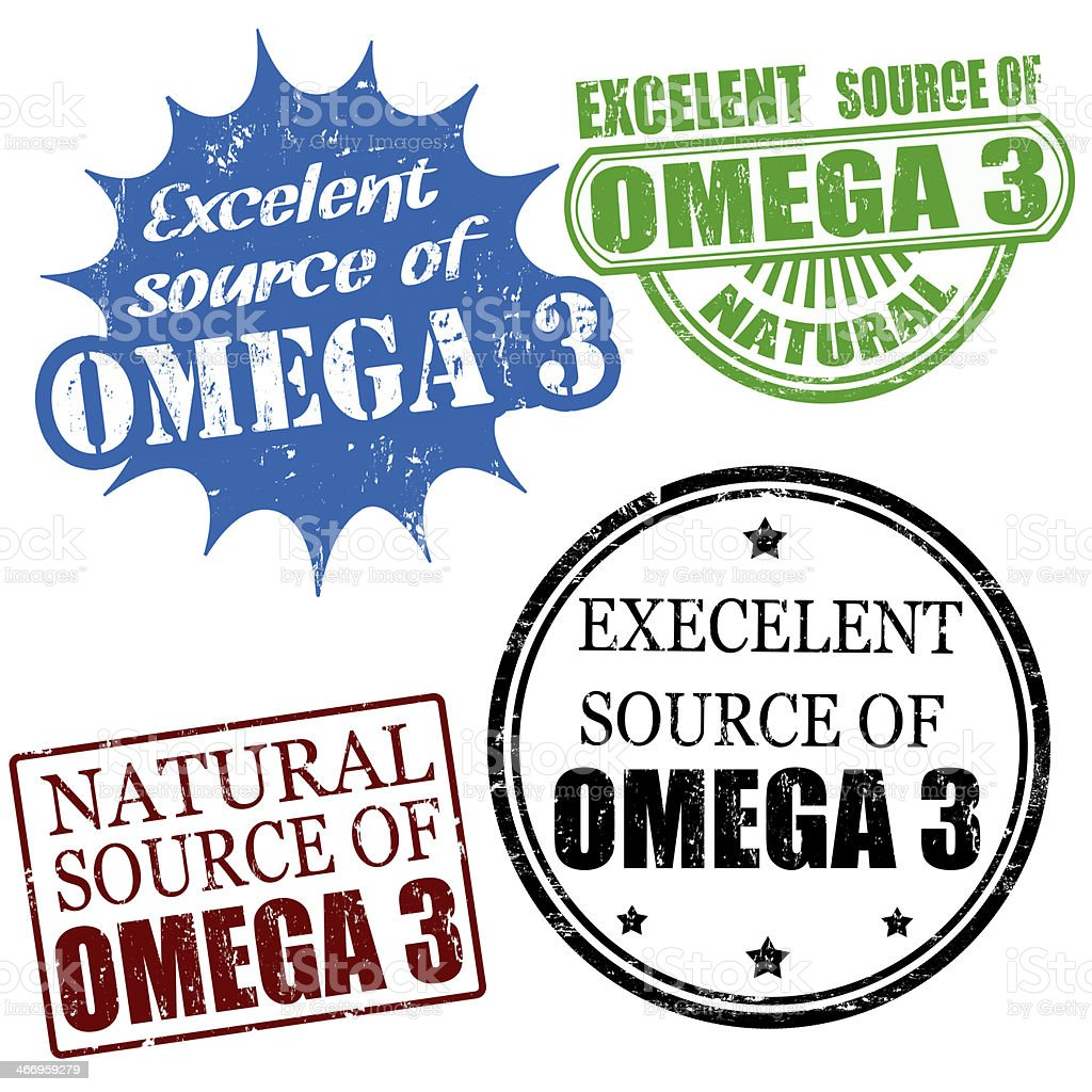 excellent source of omega3 stamps royalty-free stock vector art