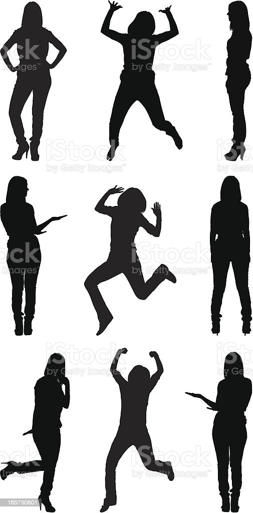 Excited casual women vector art illustration