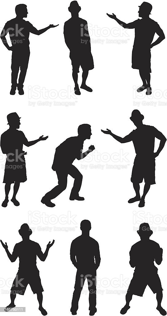 Excited men standing in different postures royalty-free stock vector art