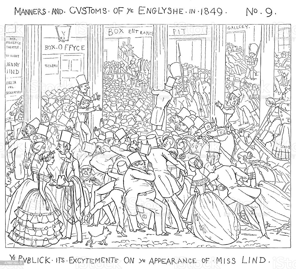 Excited Victorian theatre audience arriving vector art illustration