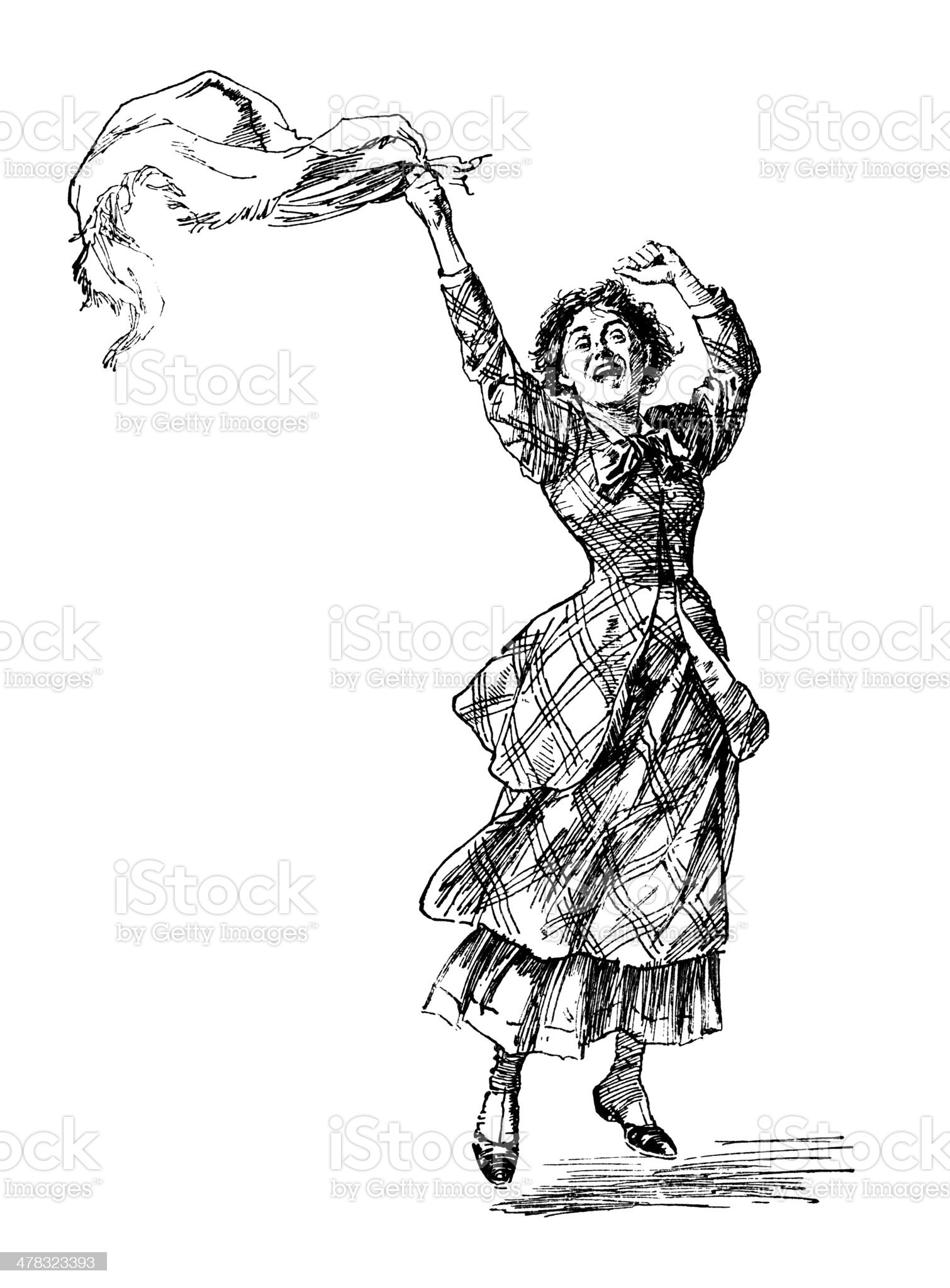Excited Victorian woman waving her shawl royalty-free stock vector art