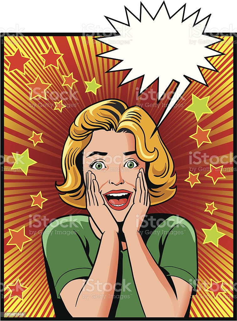 Excited Young Vintage Woman royalty-free stock vector art