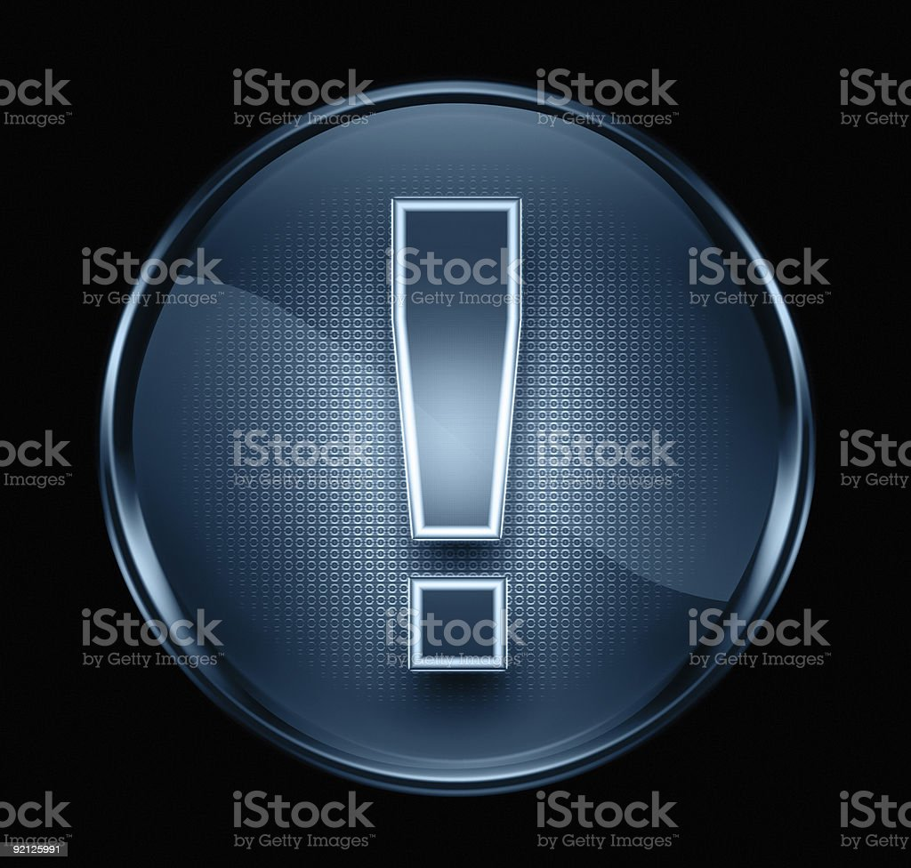 Exclamation symbol icon dark blue, isolated on black background royalty-free stock vector art