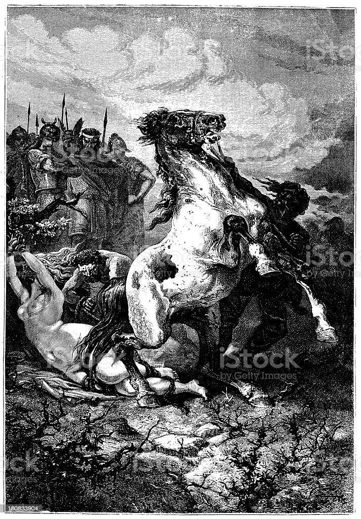 Execution Of Brunehaut royalty-free stock vector art