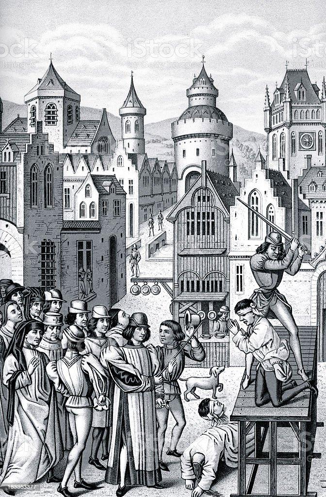 Execution of Guillaume De Pommiers vector art illustration