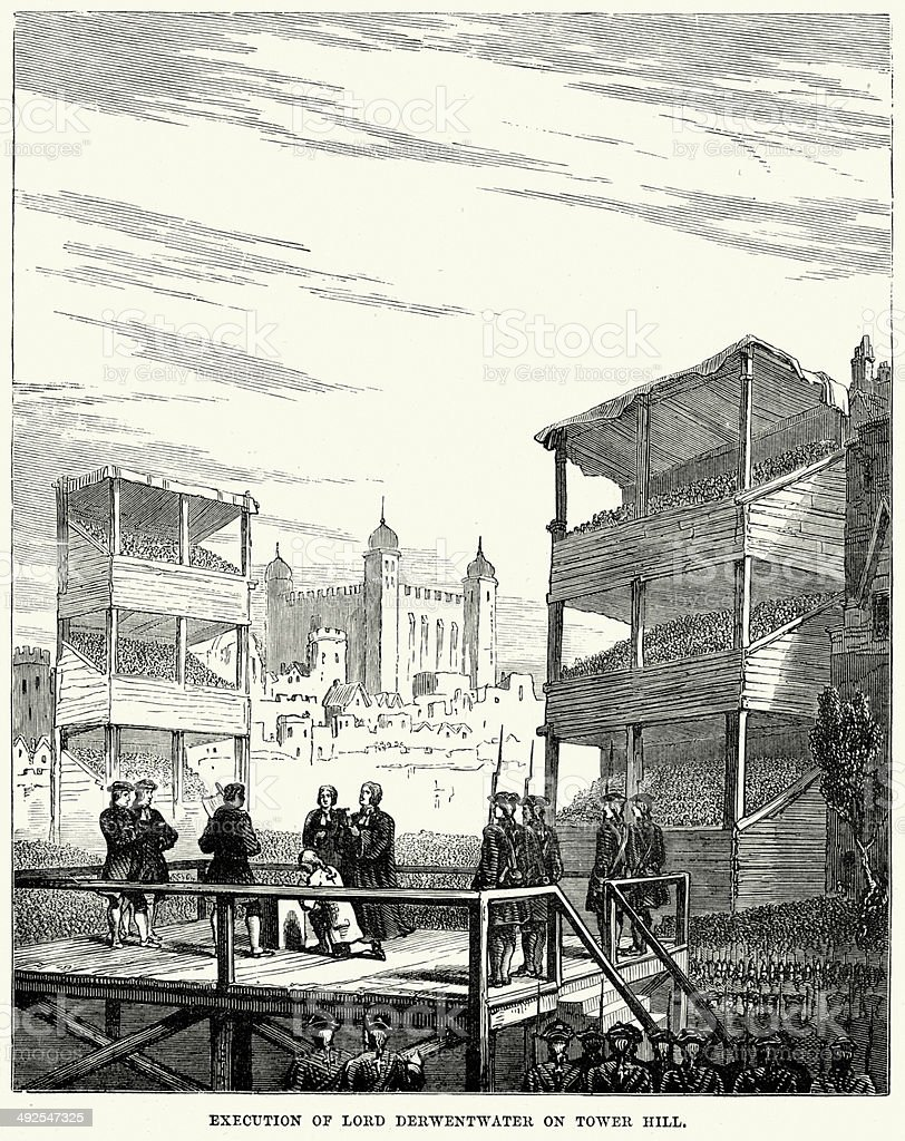 Execution of Lord Derwentwater on Tower Hill vector art illustration