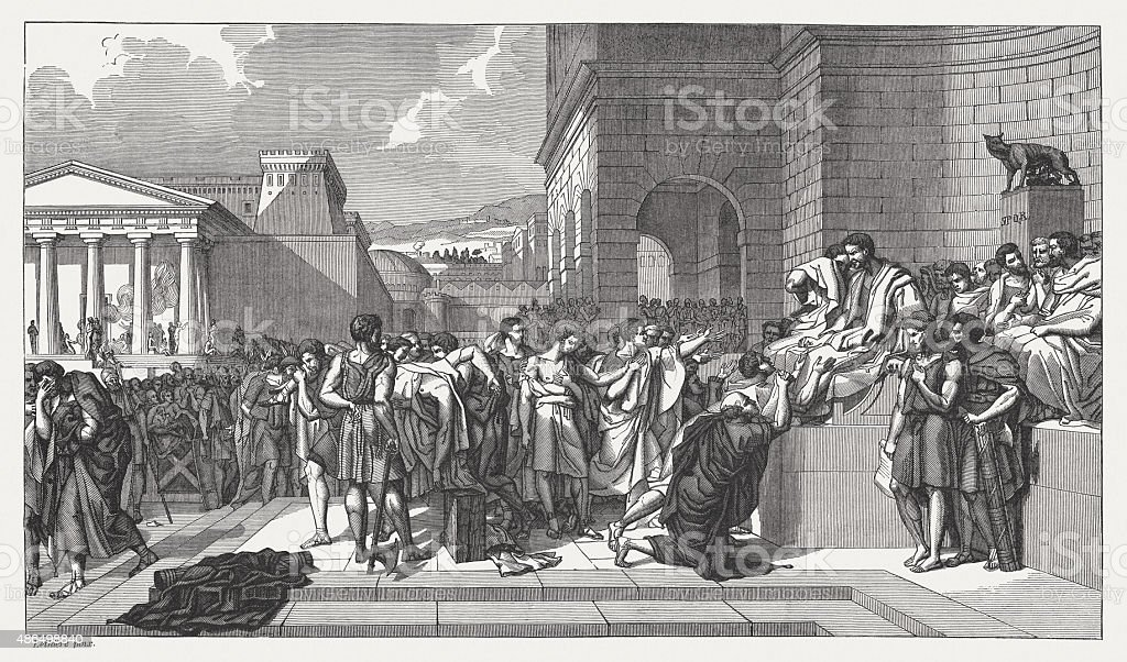 Execution of the sons of Lucius Junius Brutus, published 1878 vector art illustration