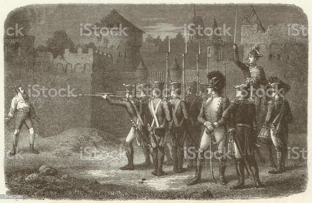 Execution of the Tyrolean freedom fighter Andreas Hofer in 1810 royalty-free stock vector art