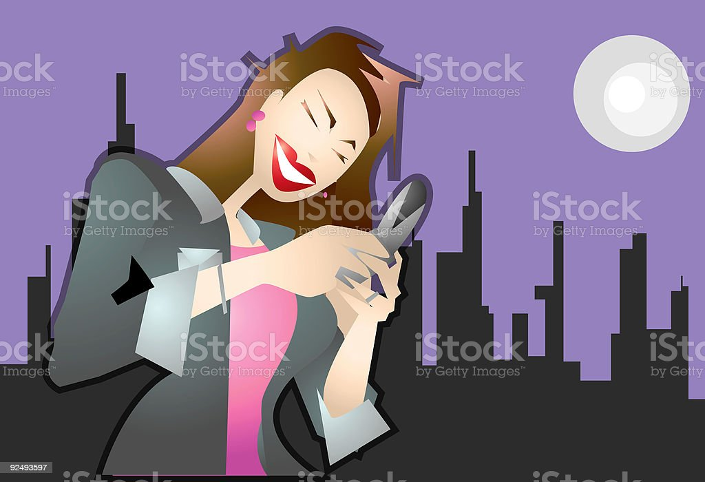 Executive Woman using Cellphone Mobile phone VECTOR royalty-free stock vector art