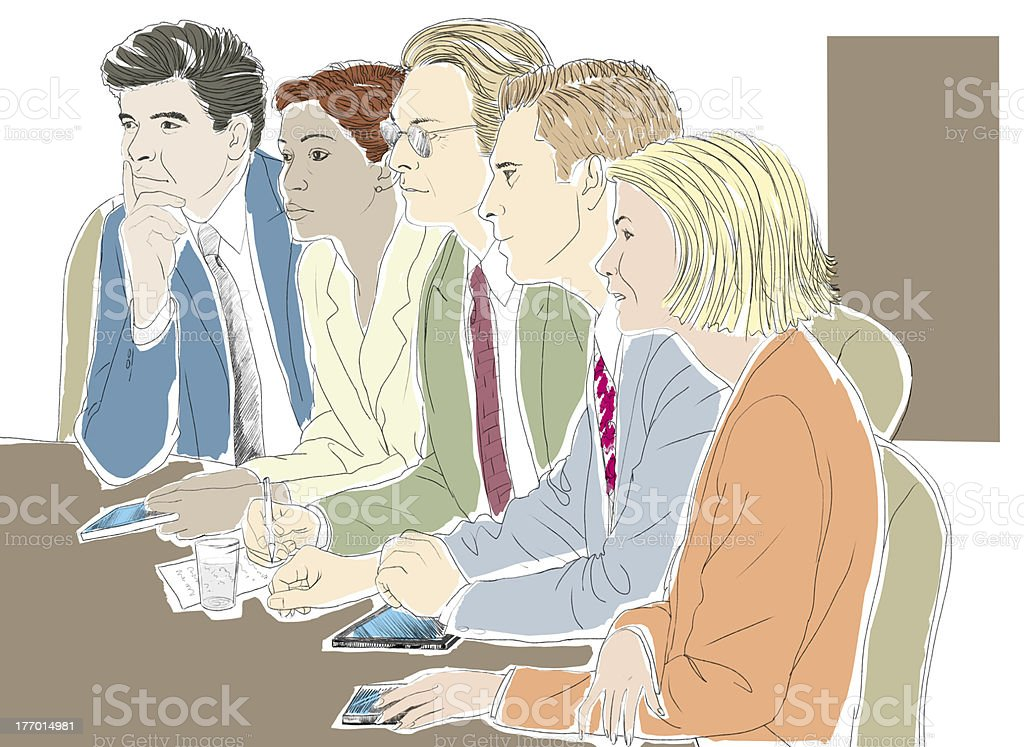 Executives in conference room royalty-free stock vector art