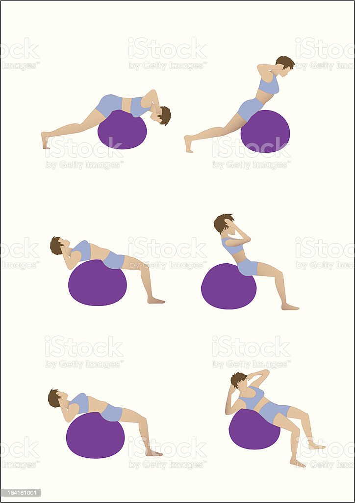 Exercise Ball Workout royalty-free stock vector art