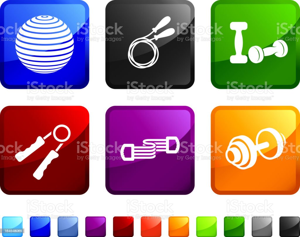 exercise equipment royalty free vector icon set stickers vector art illustration