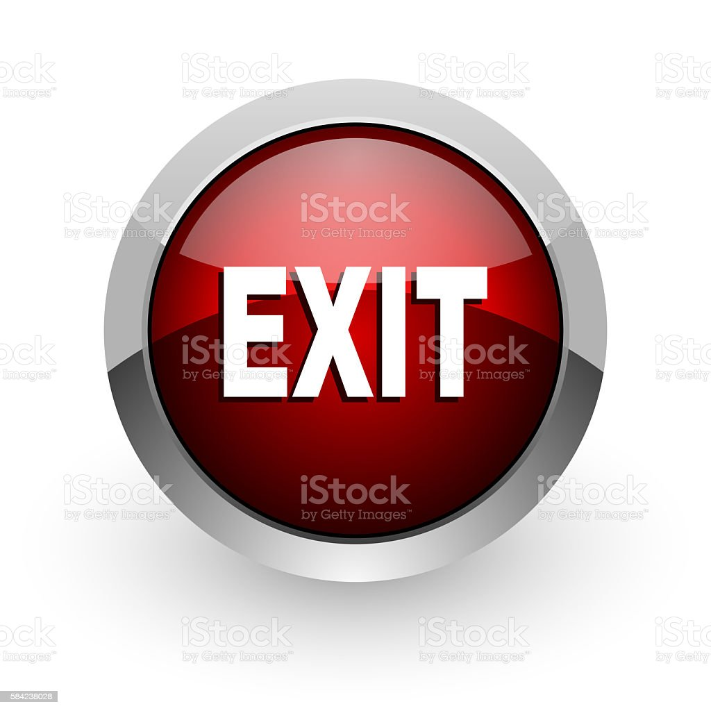 exit red circle web glossy icon stock photo
