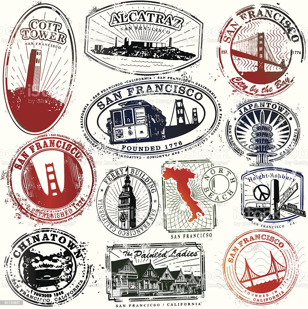 Exotic San Francisco Stamps royalty-free stock vector art