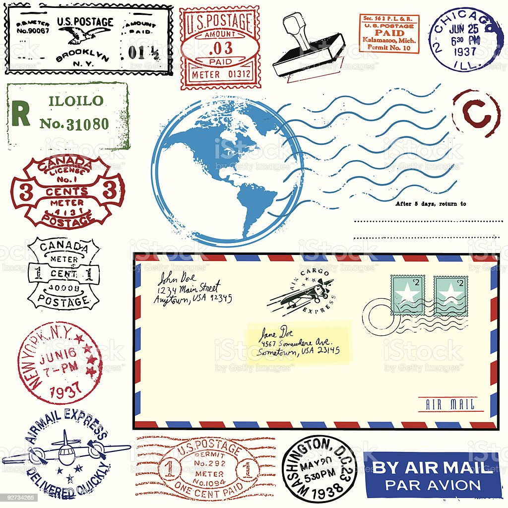 Exotic Vintage Airmail vector art illustration
