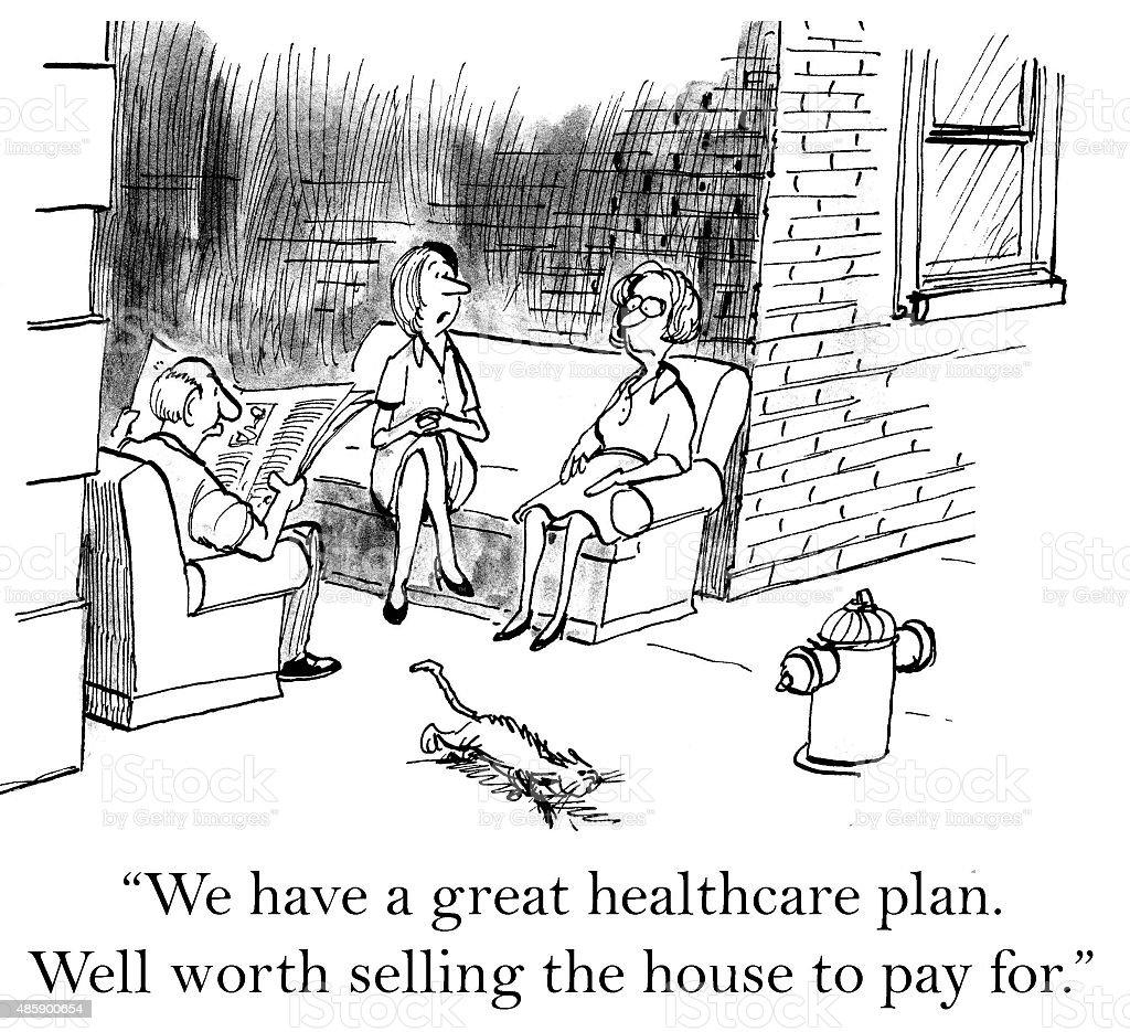 Expensive Health Insurance vector art illustration